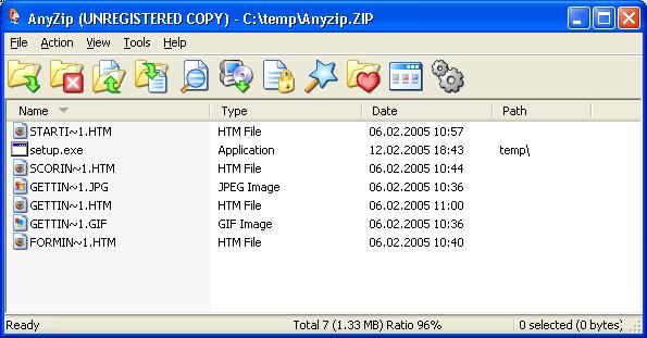AnyZip Archiver main window